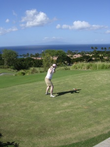 Tracy at the Old Course in Maui, Hawaii