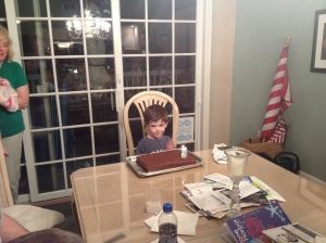 Turned five - went bonkers. Note the minimalist cake.