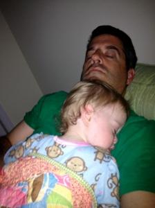 Caught on camera. Sleeping the night away on daddy.