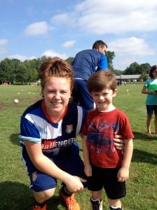 Coach Kate. She taught Frank a ton of futbol. I learned a bit too.
