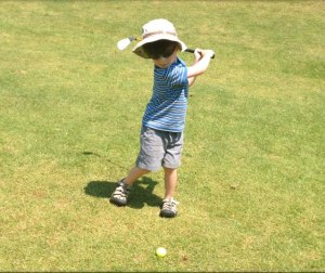 I'll be carrying this kid's clubs one day.